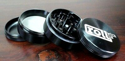 4 Piece Magnetic 2.5 Inch Black Tobacco Herb Grinder Spice Aluminum With Scoop