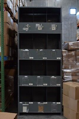 Large Warehouse Steel Shelving units with 12 Bins in each Unit 10'H x 4'W x 2'D