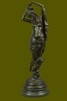 Signed Bronze statue Lady w/ Angel Cherub Figurine Marble Base Sculpture Figure