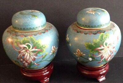 Pair Of Beautiful Blue Chinese Cloisonne Antique Ginger Jars