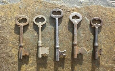 Five Antique Skeleton Keys    Antique Mortise Lock Door Keys