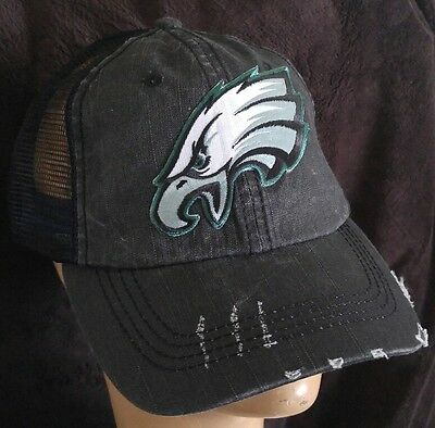 f39909383 Distressed Trucker Hat NFL Philadelphia Eagles Cotton Soft Mesh Baseball Cap