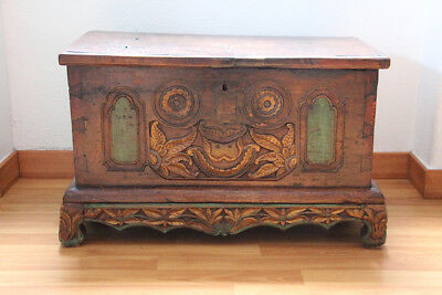 Original 19th Century Indian Brown and Gilt Chest/Trunk with Floral Decoration