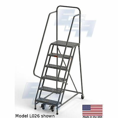 "EGA L026 Industrial Rolling Ladder 6-Step, 26"" Wide Perforated, Gray, 450Lb."