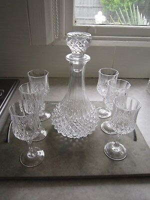 Beautiful Vintage Crystal D'arques Diamond Cut Decanter With 5 Stem Glasses