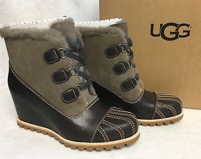 773dfc9179a UGG AUSTRALIA ALASDAIR Leather Lace Up Wedge Boots Slate Grey Waterproof  1018889