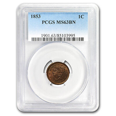 1853 Large Cent MS-63 PCGS (Brown) - SKU#158193