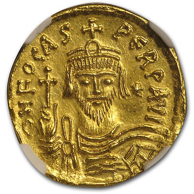 Byzantine Gold Solidus Emperor Phocas (602-610 AD) MS NGC - SKU#161329