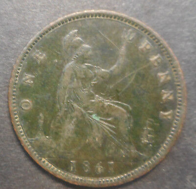 Great Britain 1861 Victoria One Penny - toned good detail