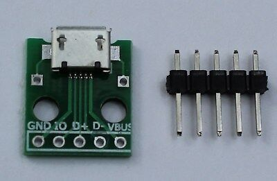 1/2/5 USB Micro to DIP 2.54mm Breakout Adapter PCB Conveter Board Pinboard US