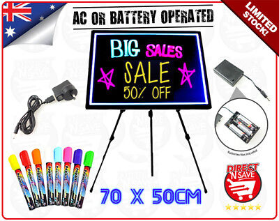 LED Neon Fluorescent Writing Menu Sign Board 70x50cm Markers w/ Stand BLACK