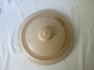 Vintage Tan Stoneware Lid ~ Fits 2 Gallon Crock ~ Swirled Design on Button Knob