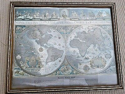 Vintage framed antique world map silver foil print blaeu wall vintage framed antique world map silver foil print blaeu wall map gumiabroncs Choice Image