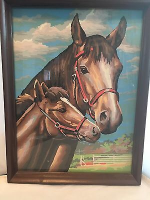 Paint By Number Horse Stallion Pony Landscape Equestrian Mid Century  Framed