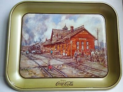 Vintage Coca Cola Serving Tray B&O Railroad Station By Leslie Cope