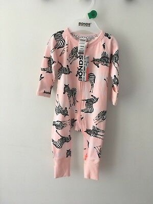 BONDS BABY ZIP WONDERSUIT/BABYGROW NWT Stitch Zebra UNISEX ALL SIZES