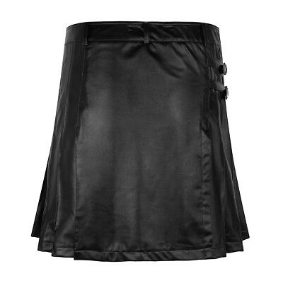 Men's Black Leather Gladiator Pleated Utility Kilt FLAT FRONT Wrap Style Dress