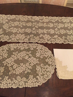 Antique/vintage French Alencon Lace Set Of 8 Oval Placemats, Napkins And Runner