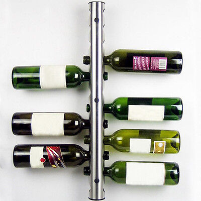 8 / 12 Hole Bottle Wall Mounted Home Bar Wine Rack Holder Stand Stainless Steel