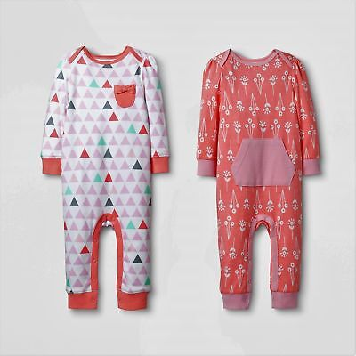 Baby Girls' 2pk Coverall Set Cloud Island - Pink/Coral 3-6M