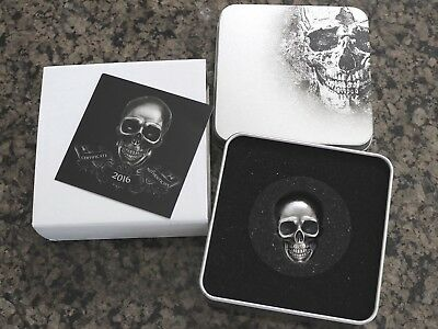 2016 Palau $5 1oz .999 Silver Skull No 1 with Antique Finish, NR & Free Shipping