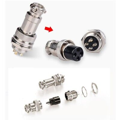 AU Newest 5A 16mm 2-9-Pin GX16-4 Aviation Plug Metal Male Female Panel Connector