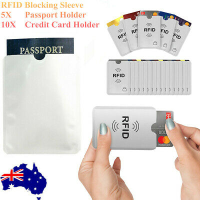 RFID Blocking Sleeve Secure Credit Card ID Protector Anti Scan Safet 5xL + 10xS