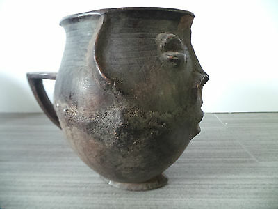 "7"" Tall Kenya Wood Vessel Cup Hand Carved Wooden Handle Face Old African Tribal"