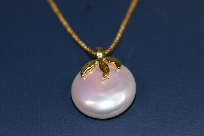 Button Shape Natural Fresh Water Pearl Necklace in 14K Gold
