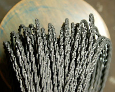 Steel Gray Twisted Cloth Covered Wire, Vintage Style Lamp Cord, Cotton Braided