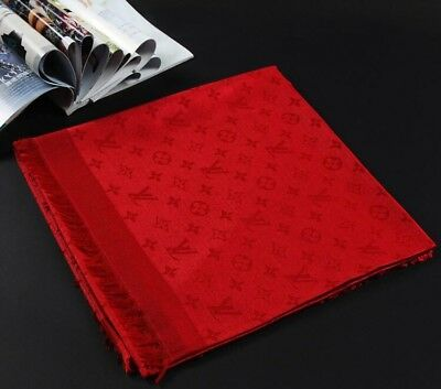 High Quality Soft Wool Winter Scarf RED Hot Monogram Logo famous brand Unisex