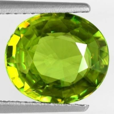 2.80 Cts Natural Top Lime Green Color Sphene Oval Cut Pakistan Loose Gemstone $