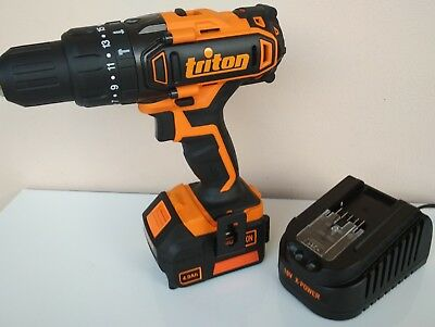 triton 18v hammer drill driver + x-power 4ah lithium battery + fast charger