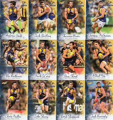 2018 Afl Select  Footy Stars West Coast Eagles  Full Set Of Commons 12 Cards