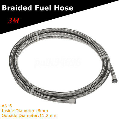 3M / 9.8Ft Stainless Braided Pipe Teflon Gas Oil Fuel Coolant Hose 6-AN AN6 8mm