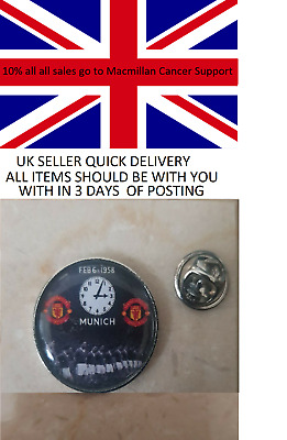 Man Utd Munich Air Disaster Clock  pin badge 10% to  Macmillan Cancer Support