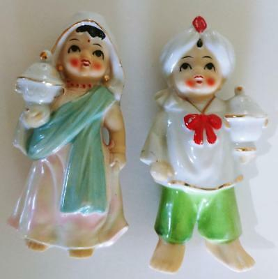 Pair East INDIAN Man Woman Figurines couple cute vintage Asian lady holding jars