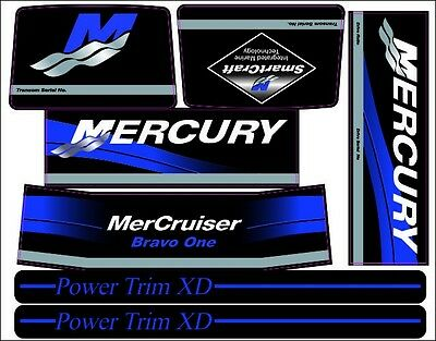 Mercruiser The New Blue  Bravo One Decals  W /blue Trims Set