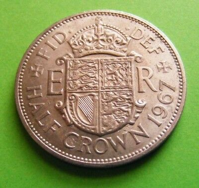 1967 Half Crown Coin - Last Year Issued - High Grade With Luster - FREE SHIPPING