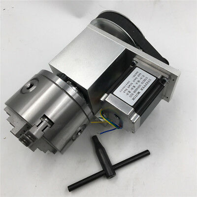 Router Rotary Table Axis 4th Axis 100mm CNC Hollow Shaft 3 Jaw Chuck K11-100