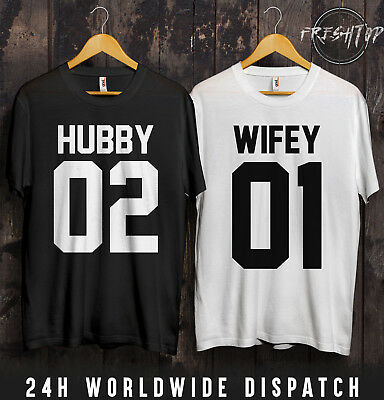 Hubby Wifey 01 02 T Shirt Couple Matching Gift Idea The King His Queen Husband