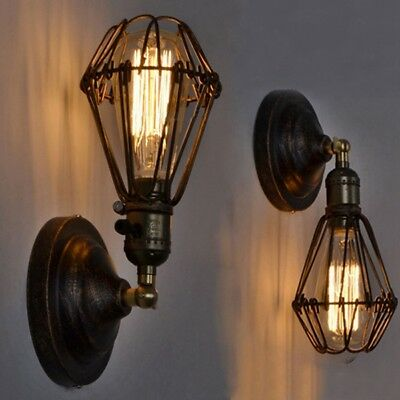 Indoor Industrial Retro Vintage Wall Cage Lamp Bar Ceiling Light