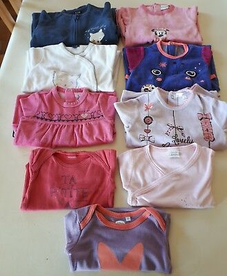 Lot de 9 vêtements (pyjamas - surpyjama - bodies) fille 6 mois