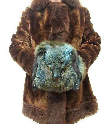 Vintage Dyed Real Fox Fur Winter Hand Muff Warmer With Head 2 In 1 Purse #26