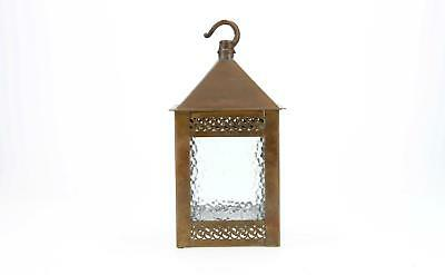 An English early 20th century brass Arts & Crafts style hanging lantern light