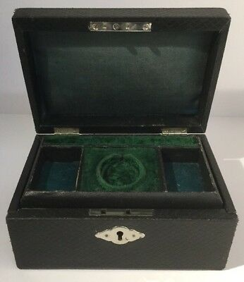 ANTIQUE JEWELRY BOX Victorian Black Leather Covered  Vintage Chrome Chest Casket