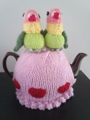 Hand Knitted Tea Cosy  - Lovebirds and Hearts