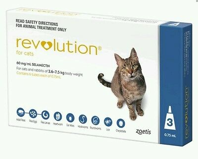Revolution For Cats 2.6-7.5 kg 3 Pack Flea Heartworm Ear Mites Expiry 06/2020
