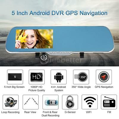 "5"" Android Smart System GPS Navigation Car Rearview Mirror DVR Dual Lens T8J7"