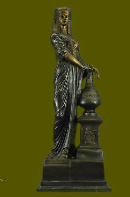 SUPER DEAL Signed numbered Egyptian Queen guard Dog Bronze Marble Figure Ef